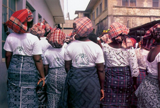 Madras Checks used as head wraps by African women.
