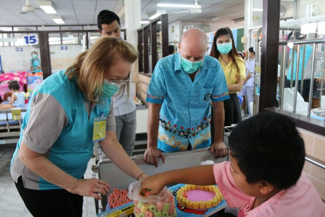 RI's Regional Magazine and Committee Coordinator Donna Cotter at a paediatric hospital in Kanchanaburi district where Rotarians have donated play materials and facilities for children.