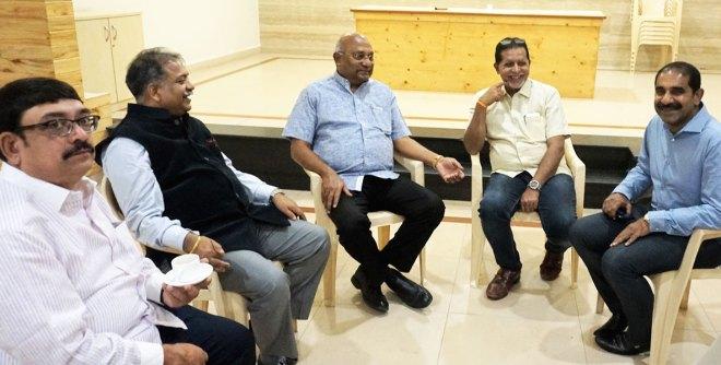 From Left: Rtn Abdul Haq Sait, ARRFC Vinod Bansal, RI Director C Basker, PDG Gopal Ramrathnam and Dialysis Project Chairman Y Srinivasa Rao at the club hall.