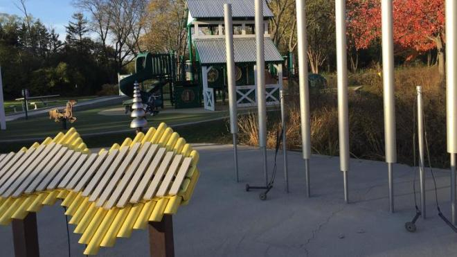 """Large instruments that could be played by children and adults would make up the """"harmony"""" park that the Rotary Club of Naperville is interested in funding in the city. Photo: Erin Hegarty / Naperville Sun"""