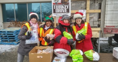 Turkey drive volunteers on a cold day. Despite the turkeys pictured here, the Kitchener-Conestoga Rotary Club does prefer cash donations. The turkeys are then bought in bulk, packed and distributed by the House of Friendship. (Submitted by: Kitchener-Conestoga Rotary Club)