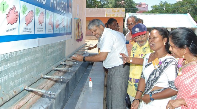 A handwash station being inaugurated in the Chinnaswamy school.