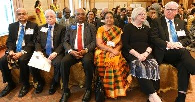 From L: TRF Trustee-elect Gulam Vahanvaty, TRF Trustee Sushil Gupta, RID C Basker, Mala Basker, Juliet and RI President Ian Riseley.