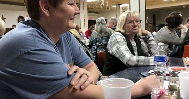 Karen Stocker competes Sunday afternoon in the Hancock Rotary trivia contest at the Hancock American Legion. Stocker was on the Preschool Posse team representing Good Shepherd Preschool in Hancock. At right is team member Robin Mosier. Photo: Dave McMillion