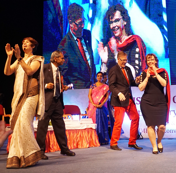 RID Mikael Ahlberg and Charlotte groove to music, along with guest speaker Lavanya Patel and PDG R S Narayanaswamy.