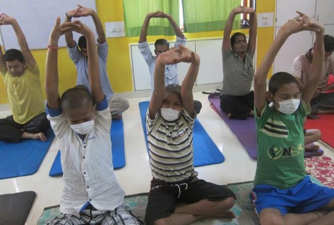 A yoga session