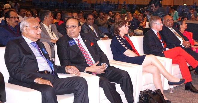 From L: Apollo Hospitals Chairman Dr P C Reddy, PRID P T Prabhakar, Charlotte, RID Mikael Ahlberg, RID C Basker and Mala Basker.