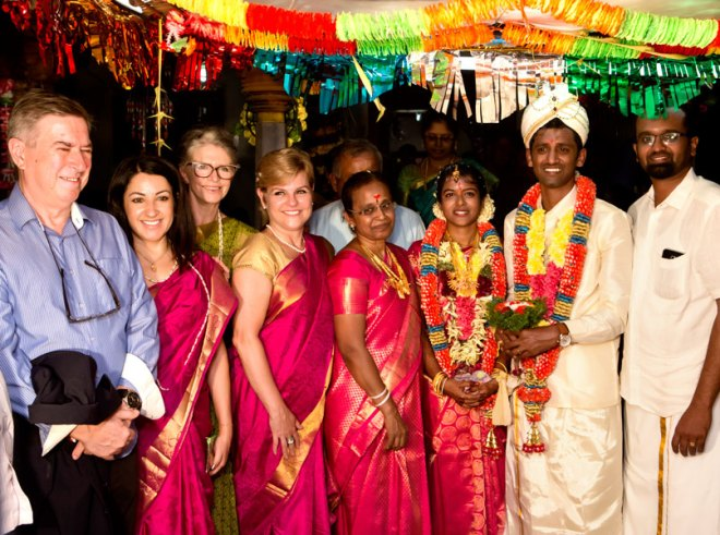 Egidio Dallagnol, Christiane Dias, Isabel Regina Scheid and Cleiza Maria Alfaya at the District Friendship Exchange Chairman P Kumarappan's (right) family wedding.