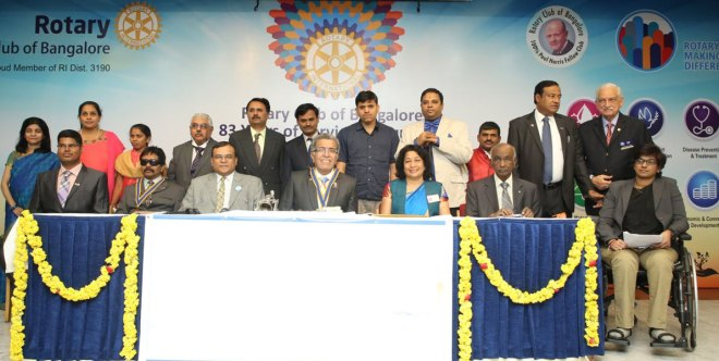 From L: Rotary Bangalore Abilities Secretary Pradeep K, President Justin Philips, Treasurer Sravani Ramachandran (extreme right) with Rotary Bangalore Secretary R Girish, President Zarir Batha, DG Asha Prasanna Kumar, PRID Panduranga Setty and other charter members of the new club.