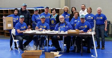 Volunteers from a consortium of Rotary Clubs prepare to pack 200,000 meals for the Salvation Army, food banks, day care centres at Drew University. Photo: Andrew Miller/ NJ Advance Media