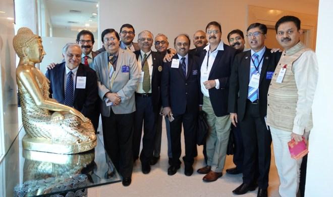 From L: DGEs Praveen Goyal (3080), Nikhilesh M Trivedi (3261), Shashi Sharma (3141), Priyesh Bhandari (3053), C R Chandra Bob (3231), Vishwa Bandhu Dixit (3090), R V N Kannan (3000), Dushan Soza (3220), Neeraj Soghani (3054), DG Maullin Patel (3054), DGEs Ashes Ganguly (3142) and Ramesh Vangala (3150) at the Disha Meet.