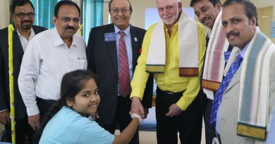 RIPE Barry Rassin greeting a girl at the thalassaemia block of the Rotary Blood Bank at the VHS Hospital. Also seen are (from left) RPIC Rajadurai Michael (Zone 5), Rtn Dr P Srinivasan, PRID P T Prabhakar, DG R Srinivasan and DGE Babu Peram.