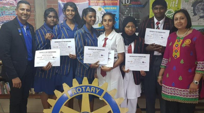 Members of the Rotary Club of Chatsworth along with contest winners.