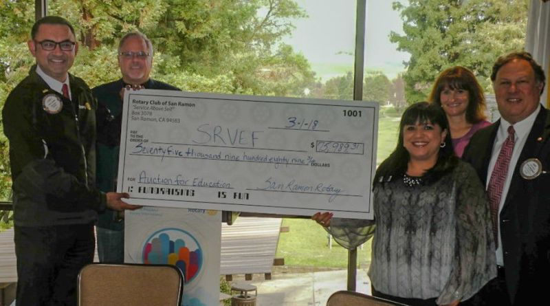 Rotary Club of San Ramon presented a cheque to the San Ramon Valley Education Foundation. The $75,989 was raised at a Rotary event last fall. Photo: Submitted