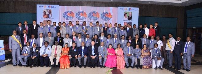 RIPE Barry Rassin and RID C Basker with DG K Jawarilal Jain, DGE C R Chandra Bob, DGN Sridhar Balaraman, PDG A Sampath Kumar and club presidents and secretaries of D 3231.