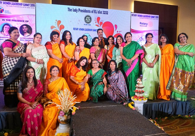 Women Presidents of D 3232 with DG R Srinivasan and his spouse Sujatha.
