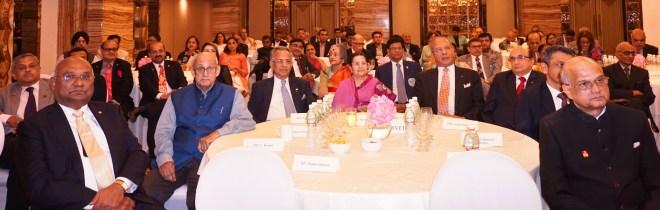 RID C Basker, PRIP Kalyan Banerjee, PRIP Rajendra Saboo, Rajashree Birla, PRIP K R Ravindran, PRID Ashok Mahajan, RIDN Bharat Pandya and TRF Trustee Elect Gulam Vahanvaty at the felicitation event.