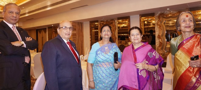 PRIP K R Ravindran, PRID Ashok Mahajan, his spouse Nayantara with Rajashree Birla.