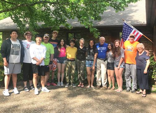 Rotary club exchange students gathering at the home of Joe and Katherine Nance at Marble Falls for their exit review. Photo: Submitted