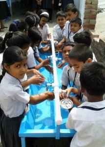 Handwash station in the Arya Banga school.