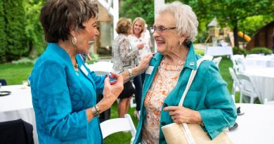 Jan Luring, left, laughs with Sonja Dodge at a party at Cascade Garden in Yakima, Washington. celebrating the 30th anniversary of women being allowed in the Rotary Club. Luring has been a Rotary member for nearly 30 years, while Dodge is coming up on 25 years as a member. Photo: Jake Parrish, Yakima Herald-Republic