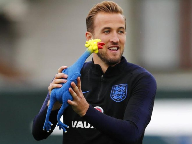 "A rubber chicken With barely 24 hours to go before their crucial semi final match with Croatia, the English team went into a training session substituting the football with a rubber chicken! The reason scribed was to get the team into the ""mood"" for the crucial match, but whether the testosterone pile-up was to make minced meat of the Croation squad only Captain Harry Kane could explain!"