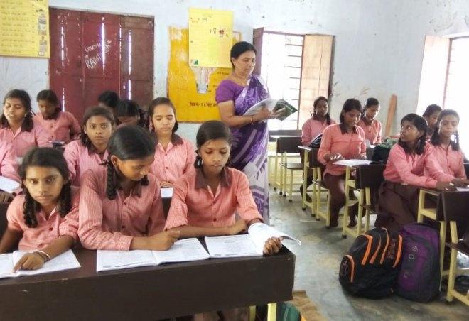 Girls enjoying the new seating facility in school.
