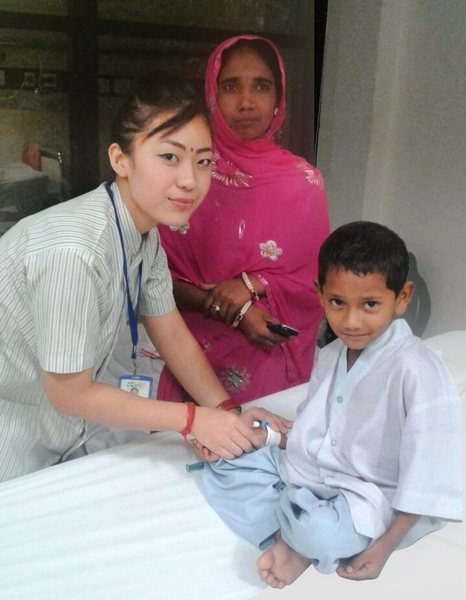 Little Ekbal Hussain being treated for congenital cardiac disorder.