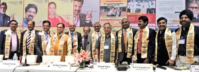 From L: PDGs Nitin Dafria, Kranti Mehta, Badri Prasad, Dr Rajiv Pradhan, TRF Trustee Gulam Vahanvaty, PDG Sanjay Khanna, INPPC Chair Deepak Kapur, PRIP Rajendra Saboo, RID C Basker, PDGs E K Sagadhevan, Anil Agarwal and Upkar Singh Sethi.