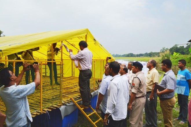 Majuli district Deputy Commissioner Deba Prasad Mishra inaugurating the Mother Shelter.