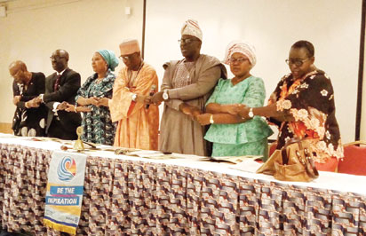 Second from right, newly installed President of Rotary Club of Festac Central District 9110, Michael Rotimi and his wife, flanked by notable Rotarians at the event.
