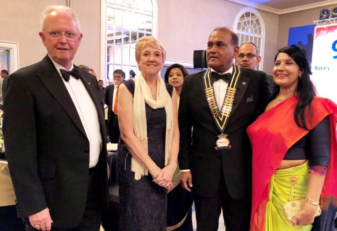 From L: TRF Trustee Mike Webb, Alison Webb, PDG Gowri Rajan, D 3220 DG Dushan Soza, Event Co-chair Nithi Murugesu and Manorie Soza.