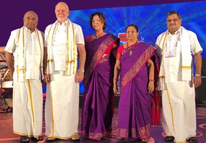 From L: RID C Basker, RI President Barry Rassin, Esther, Mala Basker and PDG Natarajan Nagoji.