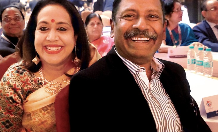 D Ravi Shankar, President of RC Bangalore Orchards, with his wife Paola.