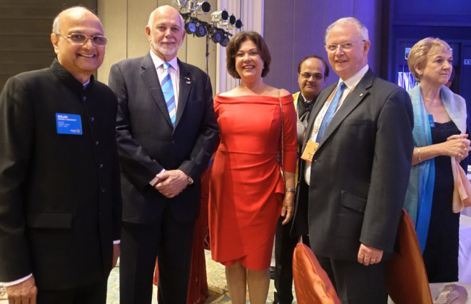From L: TRF Trustee Gulam Vahanvaty, RI President Barry Rassin, Esther, DG Rajiv Sharma, TRF Trustee Mike Webb and Alison.