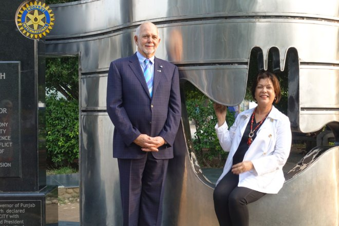 President Rassin and Esther at the Rotary Peace Monument in the city.