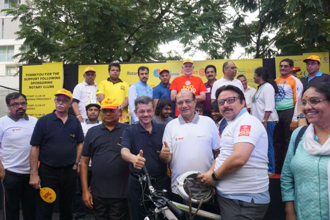 President Rassin flags off a bicycle rally in the presence of RID C Basker and RIDEs Bharat Pandya and Kamal Sanghvi.
