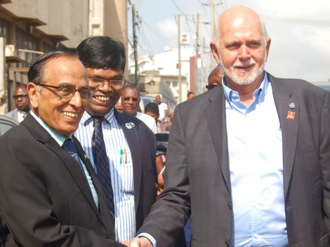 From Left: Major supporter of Indo Eye Care Hospital Chief Dr Jinesh Dugad, Assistant Governor District 9110 Ramesh Biswal and RI President Barry Rassin in Lagos.