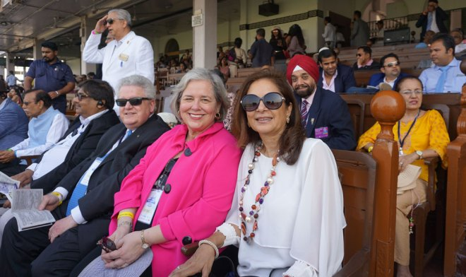 RIPE Maloney and Gay at the Race for Humanity in Mumbai. Event Coordinator Sandip Agarwalla (left), DGE Harjit Singh Talwar and Romi are also in the picture.