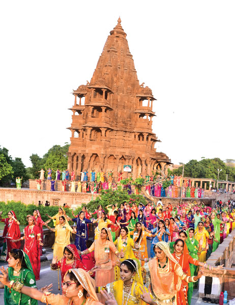 Dancers performing the Ghoomar at the Mandore Garden.