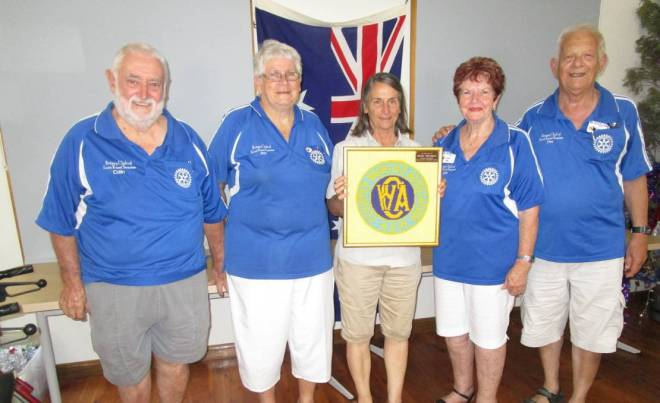 GENEROUS: Kurri Sunrise Rotary's Col James, Ann James, Merriwa CWA President Penelope Fenley, Kurri Sunrise treasurer Ann James and president Des Mills. Photo: Submitted