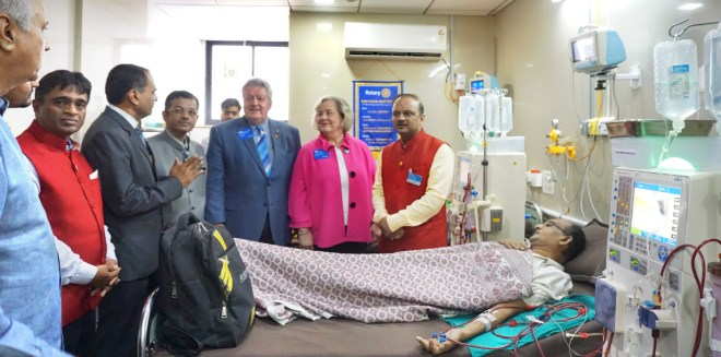 RIPE Maloney and Gay, with RIDE Bharat Pandya, at the dialysis centre sponsored by RC Surat East.