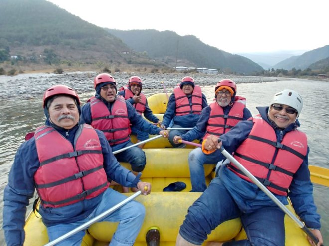 The rallyists on a river rafting adventure.
