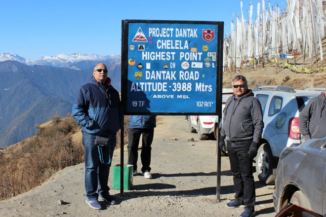 PDG Subodh Joshi (left) and Kumar Vidhate of RC Pune Hadapsar at the highest motorable road in Bhutan.