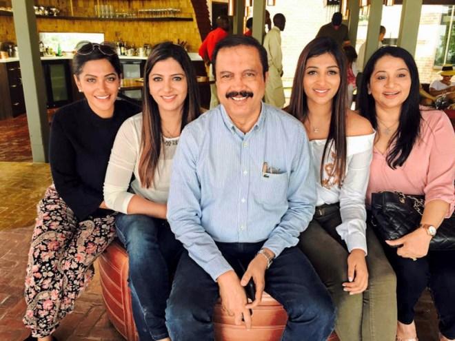 Azad Moopen, Chairman, Aster DM Healthcare Group, with wife Naseera and daughters Ziham, Alysha and Zeba.