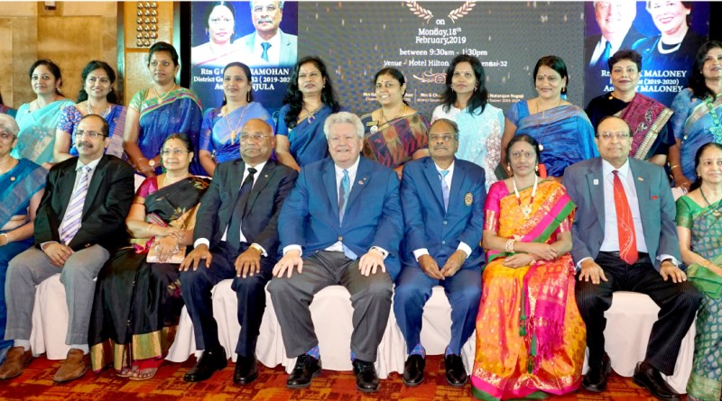 RIPE Mark Maloney, RID C Basker, Mala, DGE G Chandramohan, Manjula, PRID P T Prabhakar and Nalini with incoming women presidents of D 3232 at the PETS/SETS meet in Chennai.