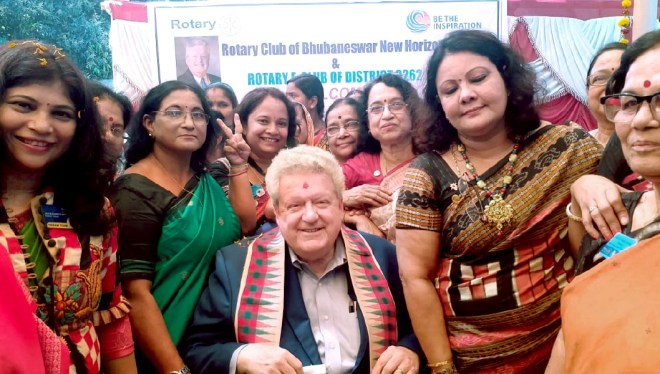 RIPE Maloney with women Rotarians in Bhubaneswar.