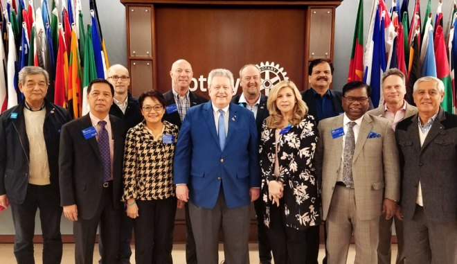 Rotary Public Image Coordinators for 2019-20 from various zones with RIPE Mark Maloney at the Rotary International headquarters in Evanston. RPIC Deepak Shikarpur is seen fourth from right.