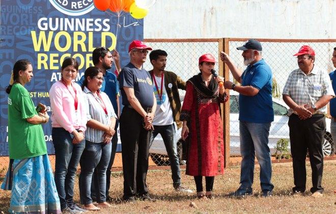 Education Secretary Nila Mohanan launches the event in the presence of Club President Ajay Menon, Secretary Ashley Delaney, PDG Dilip  R Salgaocar, AG Prakash Pilankar and DRR Nishita Pednekar.