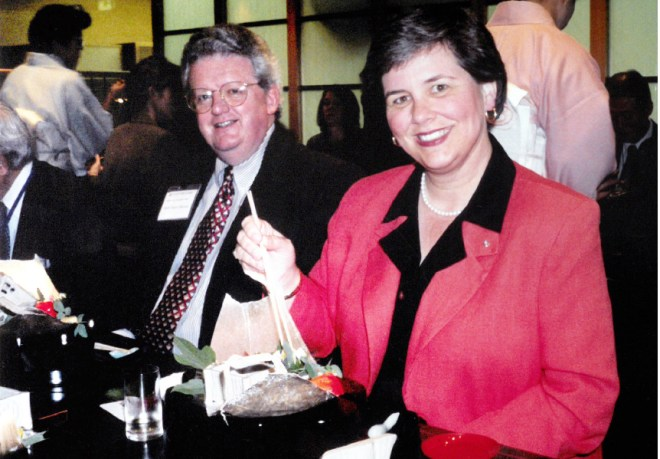 RIPE Maloney and Gay at a Japanese restaurant in 2002.